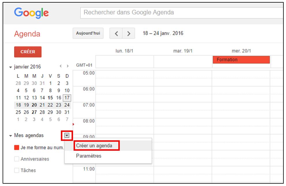 partager un agenda google sur internet