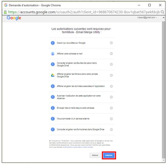 Autorisations liées au compte Google