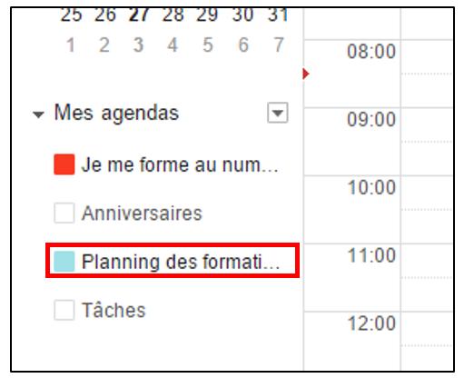 Liste des agendas