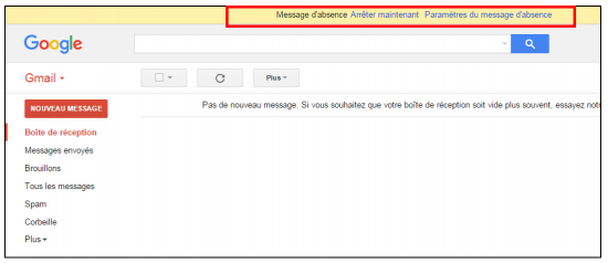 Bandeau d'information de l'activation du message d'absence