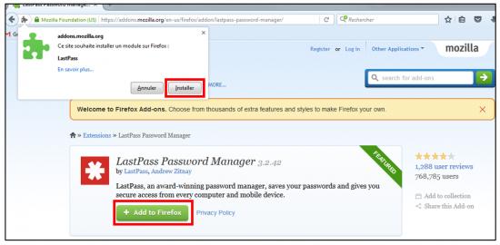 Installer l'extension LastPass pour Firefox