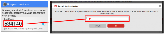 Insérer le code d'authentifiation dans LastPass