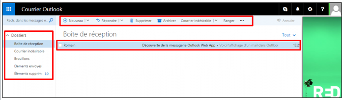Interface d'Outlook Web App