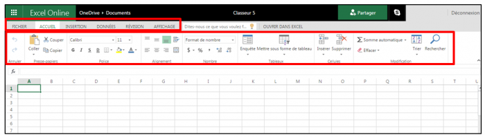 Interface d'Excel Online
