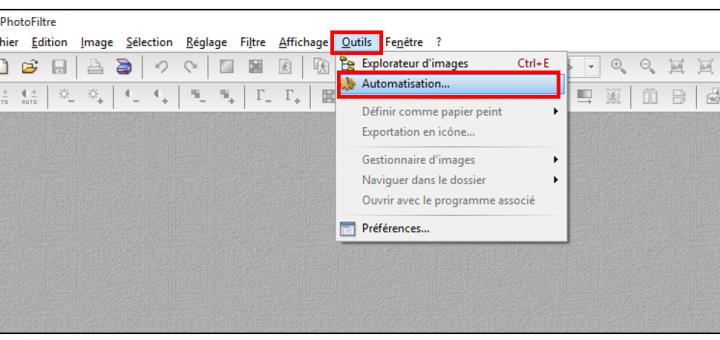 Lancer l'outil automatisation de Photofiltre