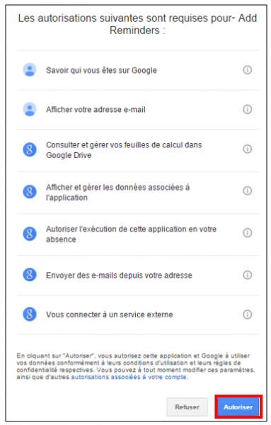 Accepter les autorisations requises