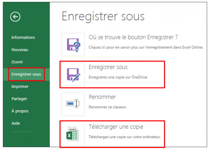 Télécharger une copie au format Excel