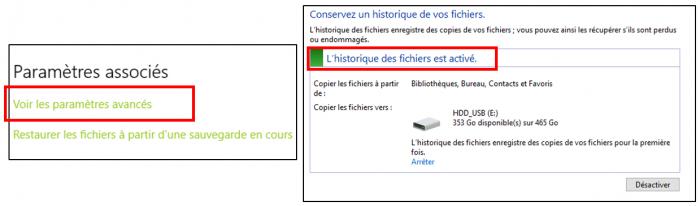 Activer l'historique des fichiers