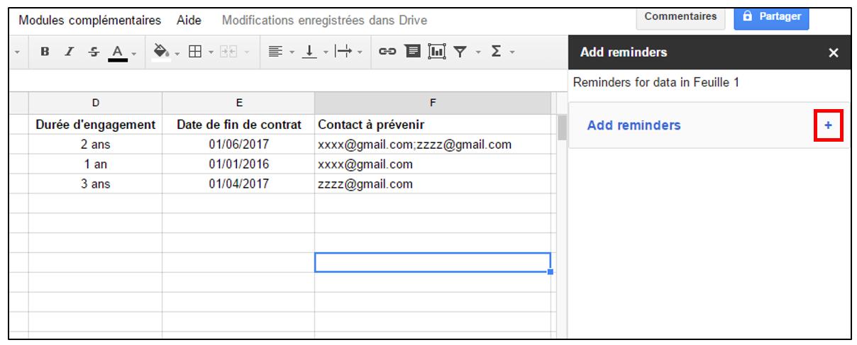 07 notifications par mail en fonction d une date dans une feuille de calcul avec le module add. Black Bedroom Furniture Sets. Home Design Ideas