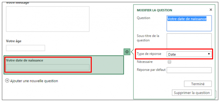 Question de type date