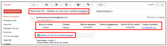 Exemple de mail de notification