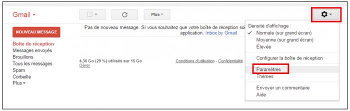 Paramètres Gmail