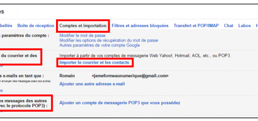 Importer le courrier et les contacts