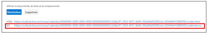 Récupérer le lien ical depuis Outlook