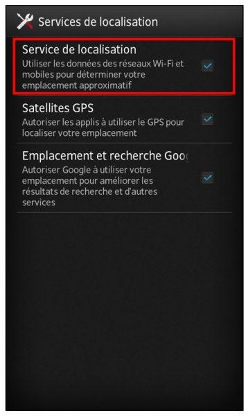 Activer le service de localisation