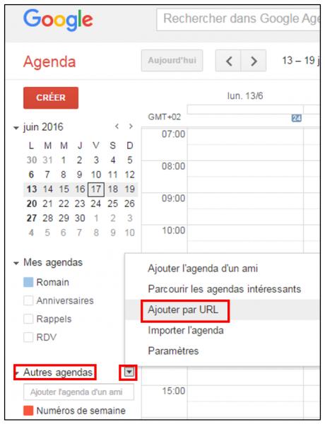 Ajouter le lien ical dans l'agenda Gmail