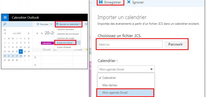 Importer un agenda Gmail dans Outlook