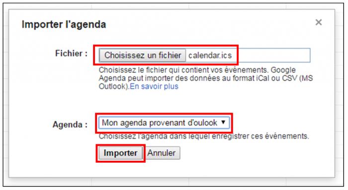 Importer un agenda Outlook dans Gmail