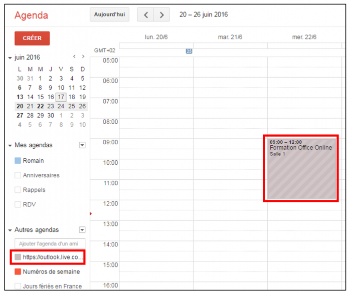 Consulter l'agenda Outlook dans Gmail