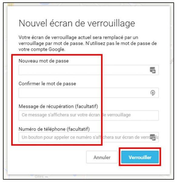 Modifier le mot de passe de l'écran de verrouillage
