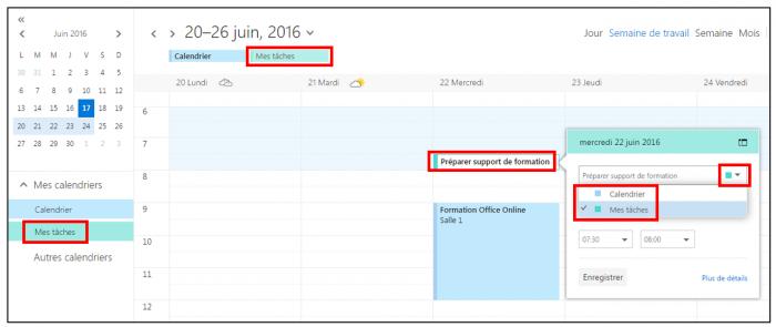 Créer un événement dans un calendrier secondaire