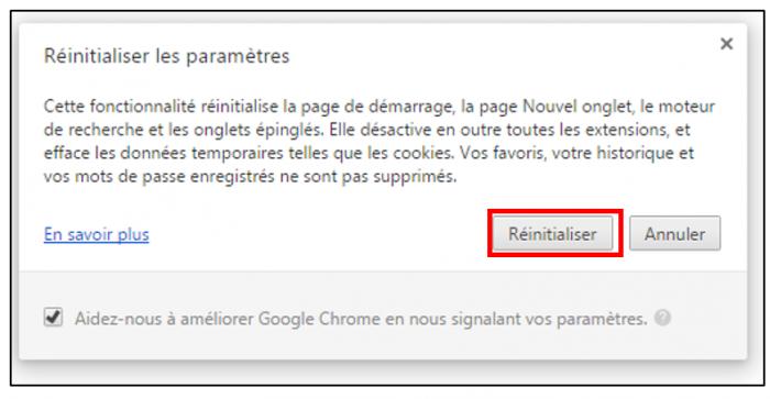 Réinitialiser les paramètres de Chrome