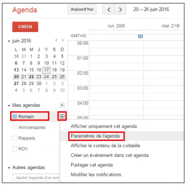 Accéder aux paramètres d'un agenda Gmail