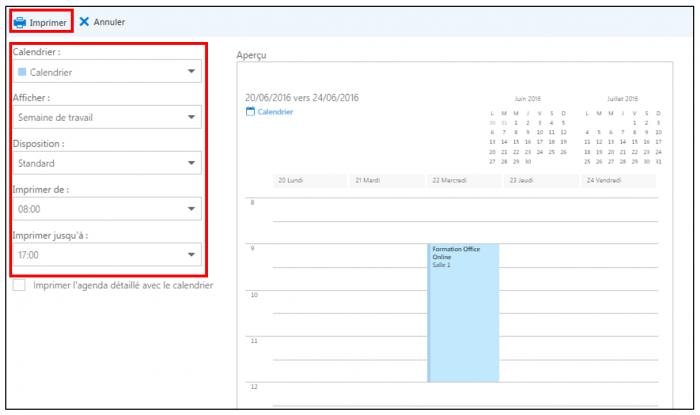 Imprimer un calendrier