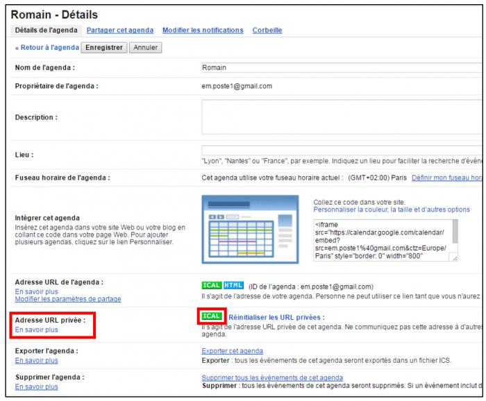 Récupérer le lien ical depuis l'agenda Gmail