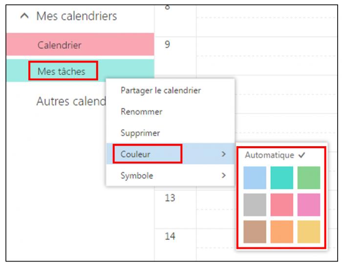 Modifier la couleur d'un calendrier