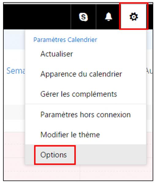 Accéder aux options du calendrier