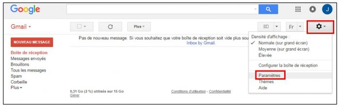 Acceder aux parametres Gmail