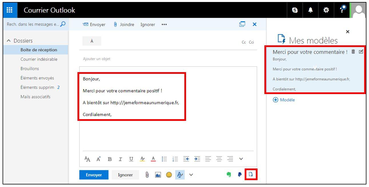 Outlook Office Online Utiliser Des Modeles De Mails Predefinis Je Me Forme Au Numerique