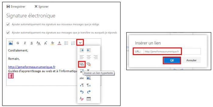Ajouter un lien hypertexte à la signature électronique