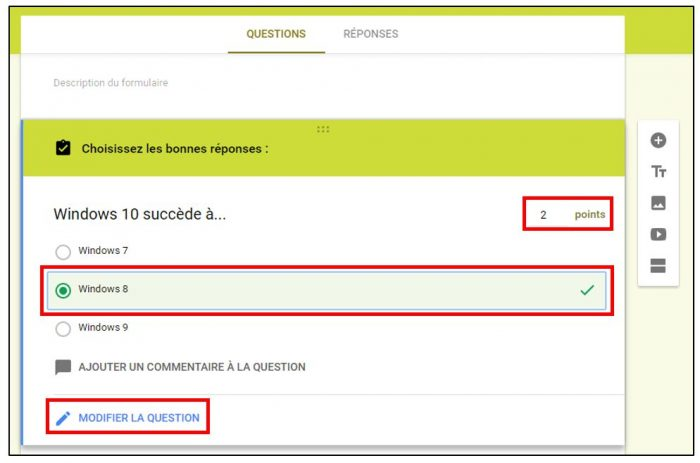 Attribuer des points aux questions