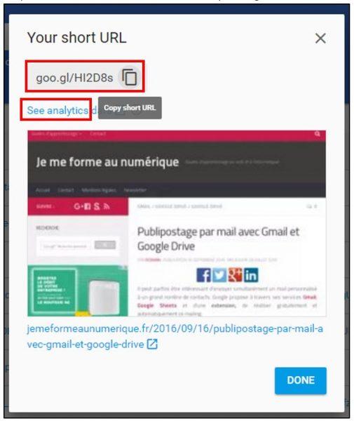 Copier un lien court avec Google