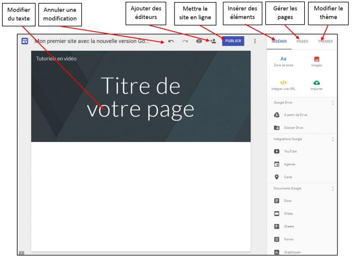 Interface Google Sites
