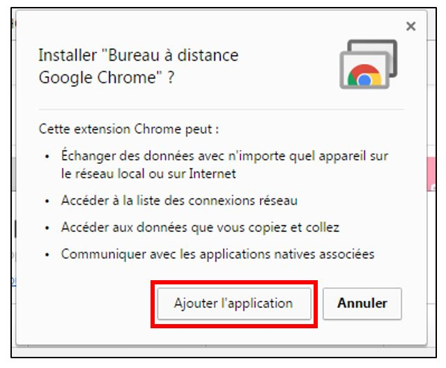 Ajouter l'application à Chrome