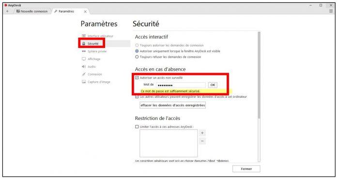 Ajouter un mot de passe en cas d'accès non surveillé