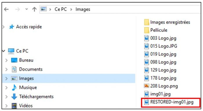 Visualiser un fichier restauré