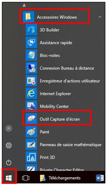 télécharger outil capture écran windows 10