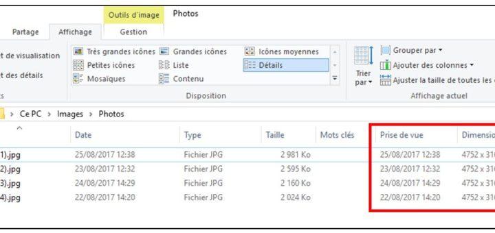 colonnes prise de vue et dimensions de l'explorateur Windows