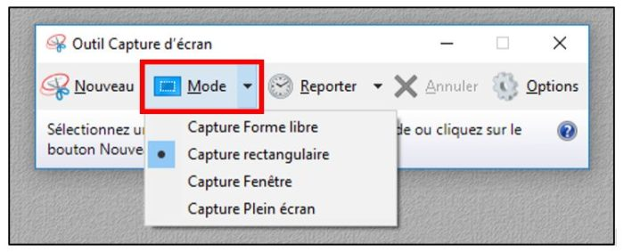 mode de capture d'écran