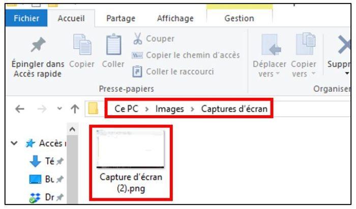 raccourci Windows + Impr Ecran pour effectuer une capture d'écran