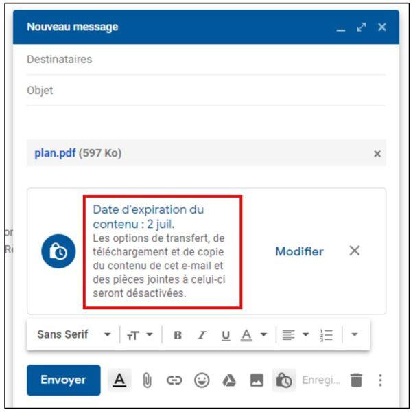 Gmail information sur la confidentialité