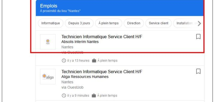 Recherche d'emploi à partir de mots clés avec Google