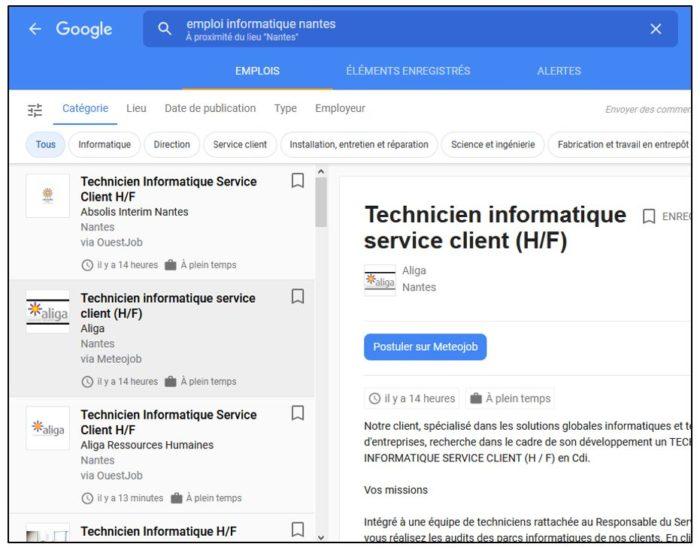 recherche emploi google interface