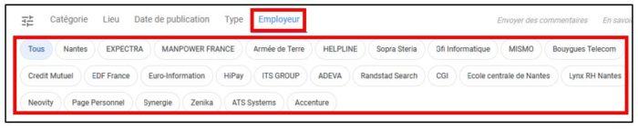 Recherche d'emploi Google par employeur