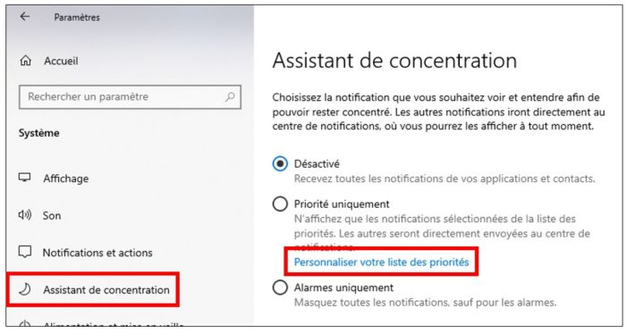 Personnaliser les applications prioritaires