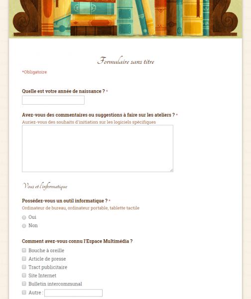 Vue du formulaire en ligne
